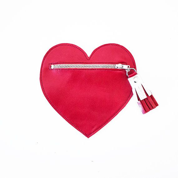 Red Heart Leather Purse // Cute Zipper Bag // by gmaloudesigns