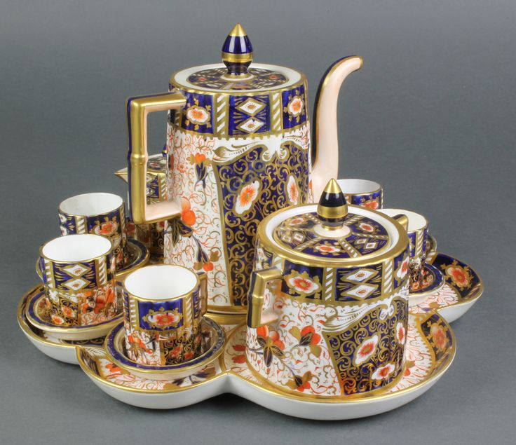 Lot 18, A 19th Century Davenport Imari pattern cabinet set comprising scalloped tray, teapot, lidded sugar bowl, lidded cream jug  6 cans and saucers, sold for £100