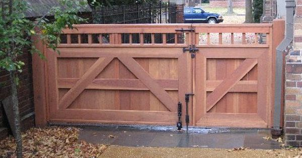 wood fence double gates - Google Search