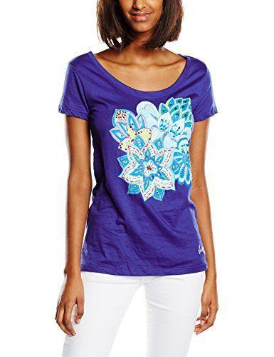 Desigual Achlys – T-shirt – Imprimé – Manches courtes – Femme: Tee-shirt DESIGUAL Achlys Bleu 61T24G7 Si vous zoomez sur les fleurs…