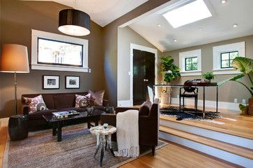 Family Room black and tan accents Design Ideas, Pictures, Remodel and Decor  I like the color of the couch, and the color scheme in general, although I would lighten the walls.