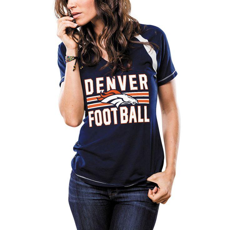 Majestic Denver Broncos Women's Navy Game Day V-Neck T-Shirt