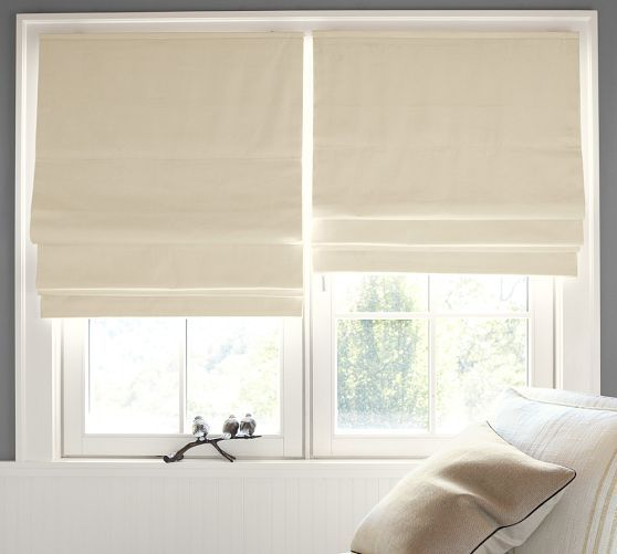 "Cameron Cotton Cordless Roman Shade with Blackout Lining | Pottery Barn  master bath blackout roman shades in ivory  {outside mount}  32""x64"" ivory quantity 2"