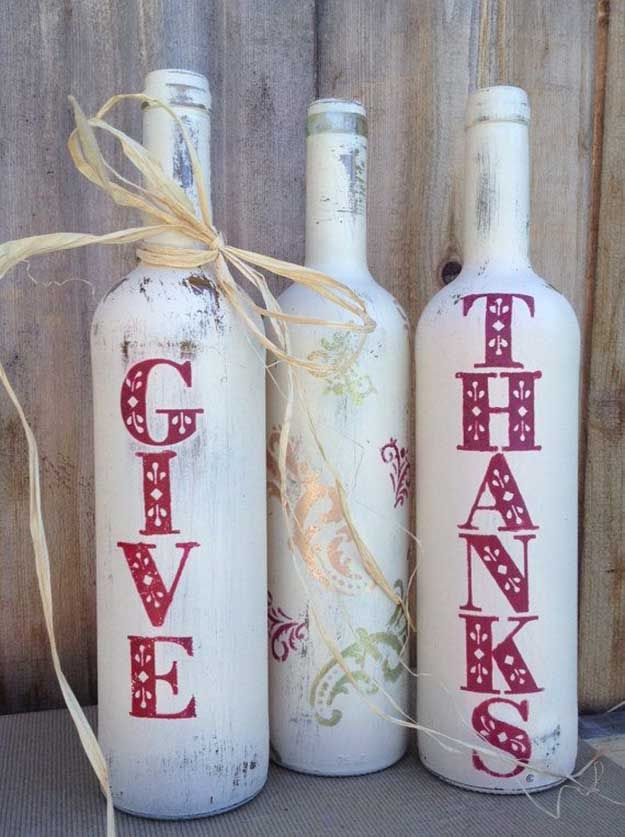 Fall Decor Painted Wine Bottles | 17 DIY Thanksgiving Crafts for Adults, see more at http://diyready.com/amazingly-falltastic-thanksgiving-crafts-for-adults
