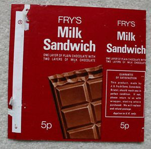 "Fry's MILK SANDWICH -1970's UK Chocolate Bar Wrapper | eBay. ""One layer of plain…"