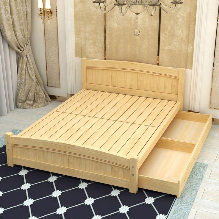 Чистый сосновый лес кровать простые белые двойные кровати для взрослых детская кровать кровати 1.2.1.5.1.8 цен Митт - Taobao