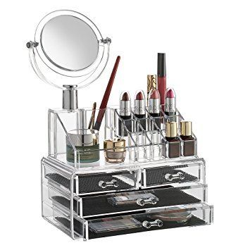 3 Drawer Plastic Makeup Cosmetic Jewelry Organizer  Clear Acrylic Cosmetic,jewellery Storage Box. 4 drawers. a pair of little drawer, a pair of massive drawer and one revolved Mirror. Each drawer with protection pad on bottom. It options 3 levels therefore you'll be able to simply spot what you would like, with multiple compartments for all sorts and sizes of cosmetics, as well as brushes. Its space-efficient, recurved vogue adds associate degree aesthetic attractiveness that's good to be…