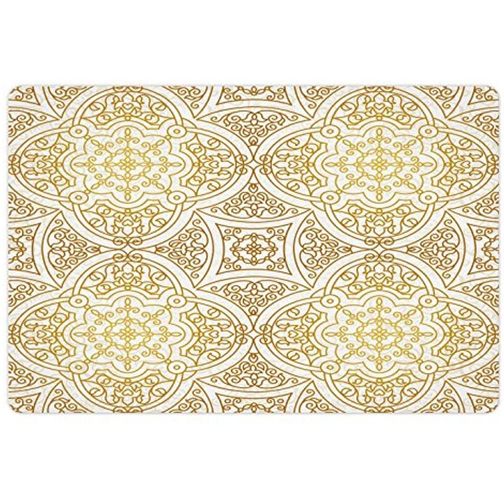 Gold Mandala Pet Mats for Food and Water by Lunarable, Victorian Mandala Motifs Curled Classical Ethnic Oriental Tile Outline, Rectangle Non-Slip Rubber Mat for Dogs and Cats, Gold Yellow White * Click image for more details. (This is an affiliate link)