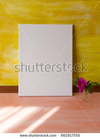 Mock up poster in sunny interior. Vertical blank canvas.