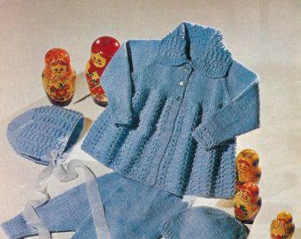 ON SALE - Vintage PDF Baby  Knitting Pattern Studley 732 - Dk Qk 8ply Pram Set 18-20ins
