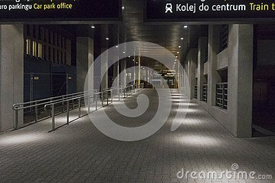 Modern building.  outside the modern Bilding of Balice Airport in Krakow. Poland. Night photography.