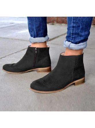 VERYVOGA dames suede lage hak laarzen met rits schoenen