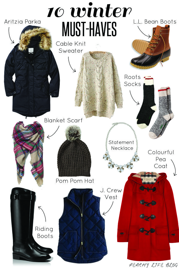 10 Winter Must Haves - Essential items to keep you warm and stylish all winter long. Aritzia Parka, Cable Knit Sweater, L.L. Bean Boots, Zara Plaid Blanket Scarf, Pom Pom Hat, Stella and Dot Statement Necklace, Tory Burch Riding Boots, J.Crew Vest, Burberry Pea Coat https://www.instagram.com/stephhincks/