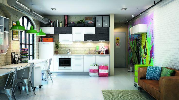 Lav dit køkken om til en spændende og inspirerende arbejdsplads. Brug farver kreativt og få et helt nyt rum ud af dit køkken, hvor du både kan lave mad og arbejde hjemme.