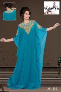 Attarctive Turquoise Kaftan, with heavy hand beading around the neck