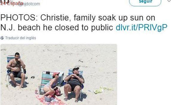 Cazan al gobernador de Nueva Jersey tomando el sol en la playa con su familia después de cerrarlas al público
