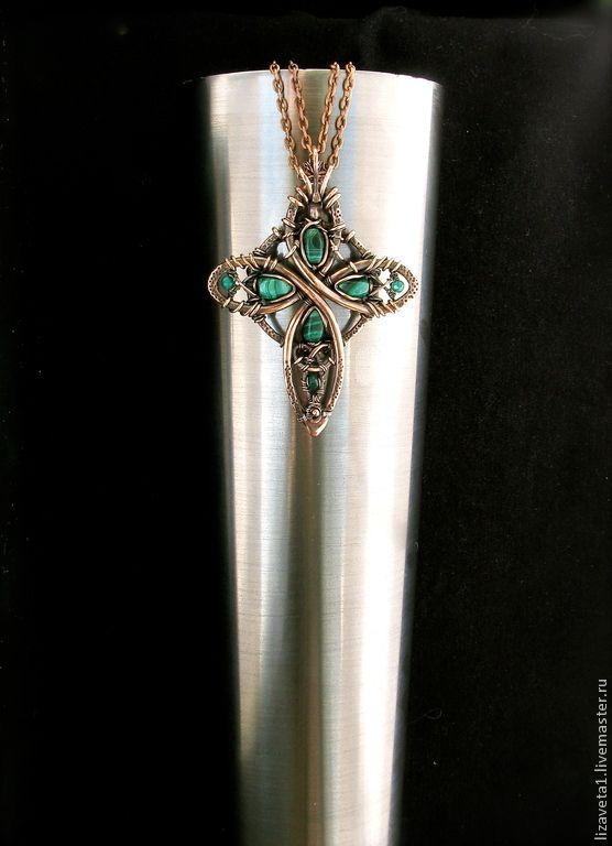 Кельтский крест с малахитом - ярко-зеленый,крест,кельтский крест,кельтика