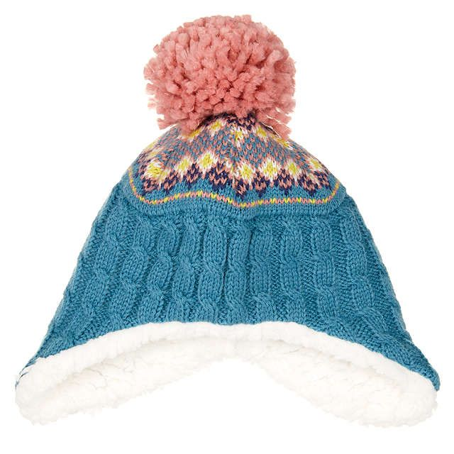 BuyJohn Lewis Baby Fair Isle Trapper Hat, Teal, 0-3 months Online at johnlewis.com