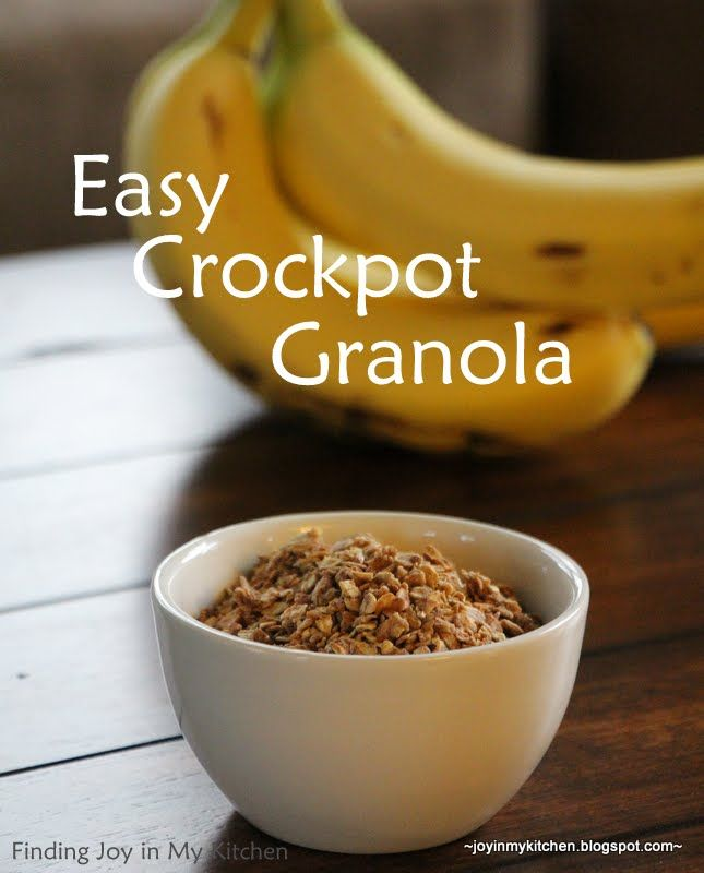 Crockpot Granola!  Did you know you can make granola in your slow cooker?  I didn't; now that I've done it, I can't say I'll go back to the oven.