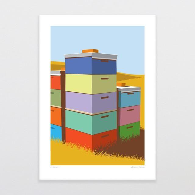 Beehives-Art Print-by Glenn Jones Art