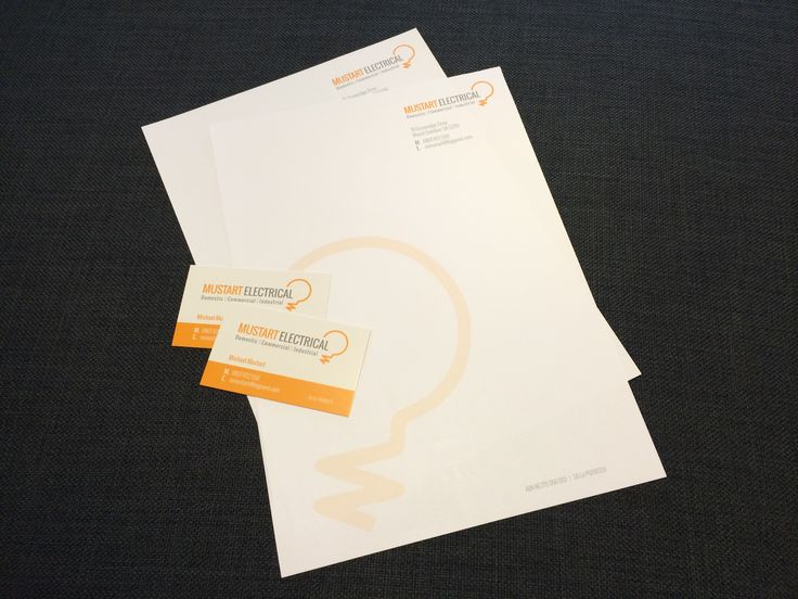Letterheads & business cards for Mustart Electrical. #letterheads #businesscards #stationery #juliareader #printing