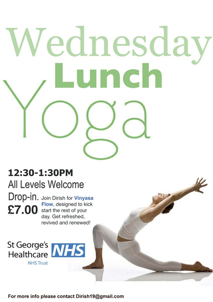 Wednesday Lunch Yoga. Open to all levels 1230-130pm in Tooting #tootingbroadway #yogainsouthlondon #stgeorges #lunchactivities #lunch #wednesdaylunch #wednesdaylunchyoga www.dirish.com