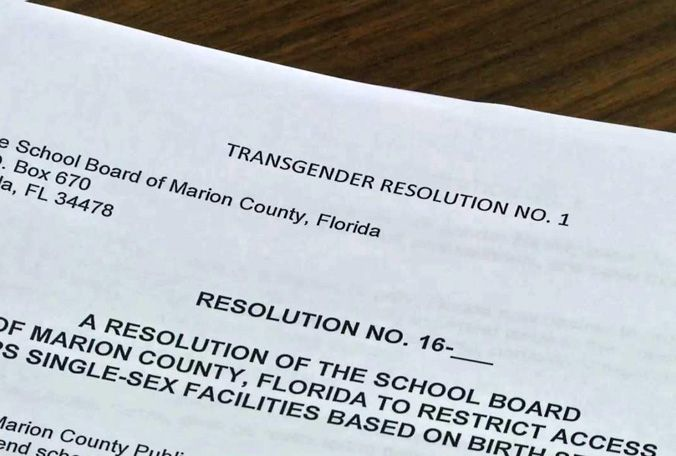 The Marion County school district has passed a rule to require students to use the bathroom that matches the gender they were born with.
