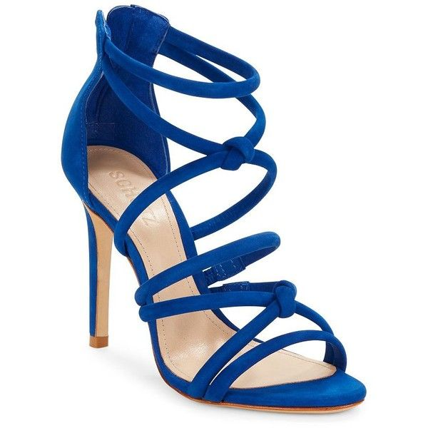 Schutz Mindy Suede Caged Heels ($133) ❤ liked on Polyvore featuring shoes, pumps, heels, sandals, blue, cushioned shoes, schutz pumps, open toe shoes, blue shoes and suede leather shoes