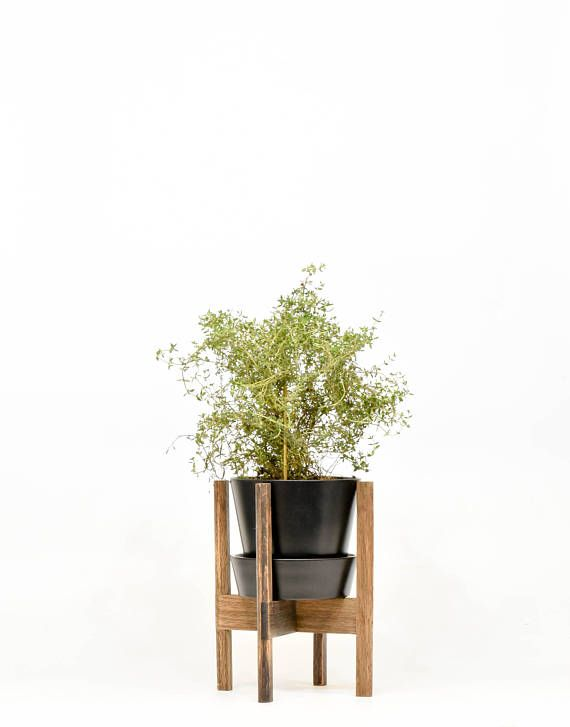 Mid Century Modern Plant Stand with Black Pot Indoor pot with