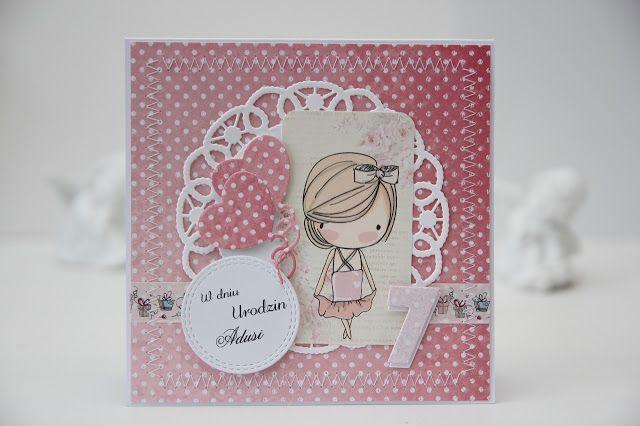 kartka na urodziny, różowa scrapbooking