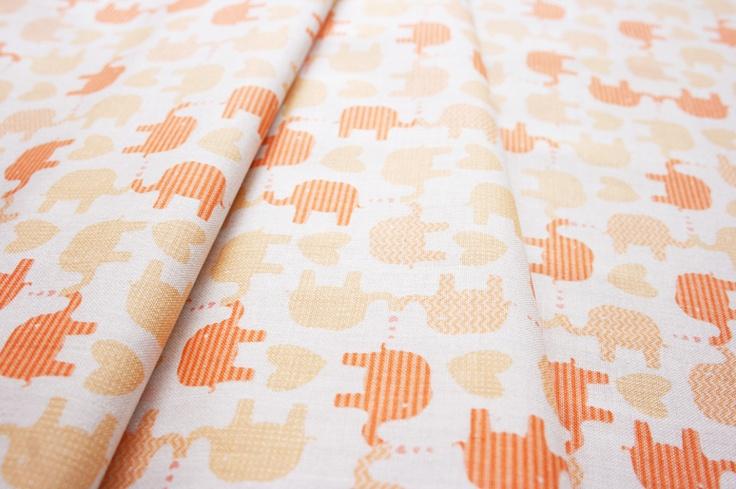 Anthology Fabrics Lullaby Baby PR553 elephant fluorescent orange