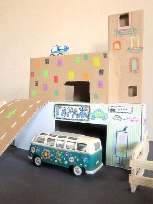 Гараж из картона ART project DIY with kids in KAVARDAK blog