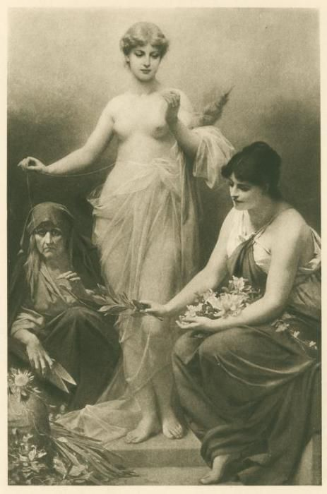 The Three Fates with flowers, thread and shears. 1910. The Fates were three goddesses who decided human destiny; Clotho (Nona in Roman mythology) spun the thread of life, Lachesis (Decuma) measured how long it would be, and Atropos (Morta) cut the thread with shears.