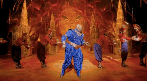 """Tony nominee James Monroe Iglehart brings the Genie to life in the new Broadway production of Aladdin, and his seven-and-a-half minute """"Friend Like Me"""" is easily this season's best production number, and a jaw-dropping athletic feat. 