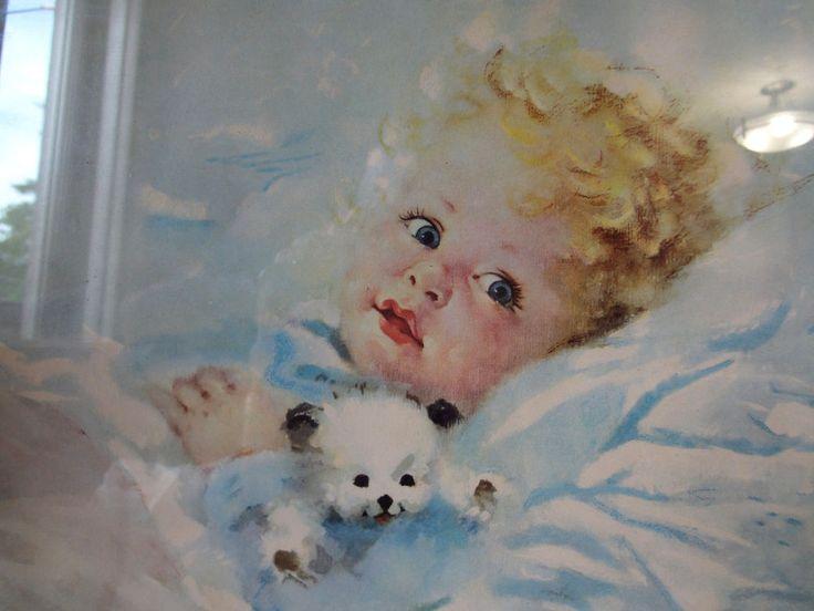 """Sweet Baby Picture Vintage Florence Kroger Signed Framed Print 12-3/4"""" X 10"""""""