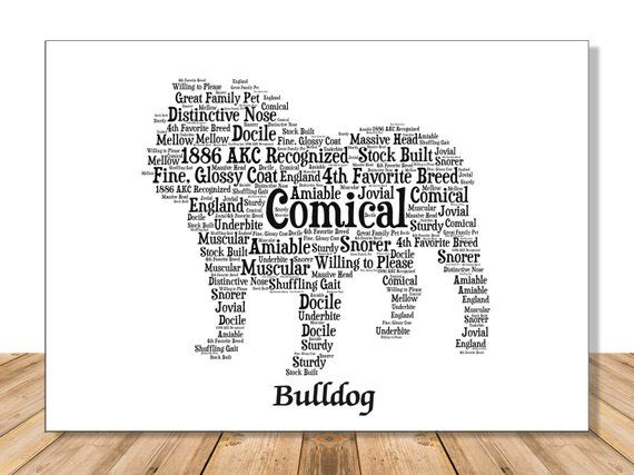 Bulldog, Personalize Art Print for Dog Lover Gift and Wall