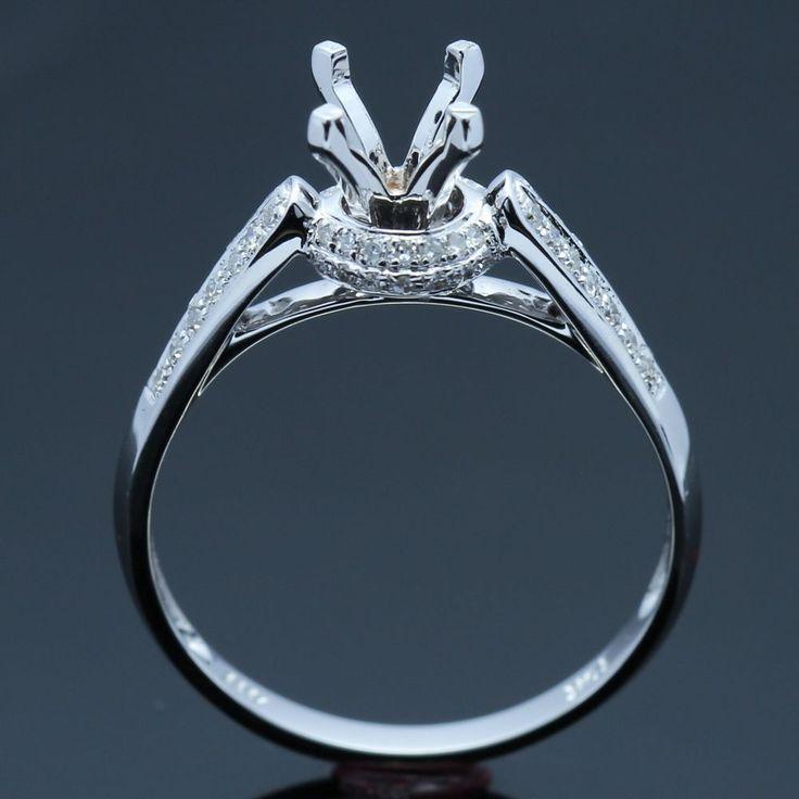 5mm Round 14K White Gold Natural Pave Diamond Engagement Semi Mount Ring Setting