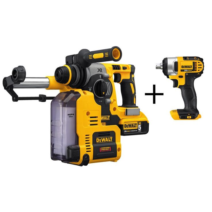 DEWALT 20-Volt MAX Brushless Rotary Hammer and Dust Extractor with Bonus 1/2 in. Impact Driver