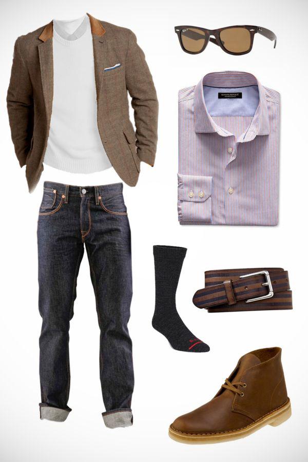 CHRIS' SCENARIO - THE CITY COMMUTE Jacket: Land's End Madison Wool Bike Blazer Pants: Levi's 54I Straight Tumbled Sunglasses: Ray-Ban Wayfarer RB2132 Tortoise Shell Shirt: Banana Republic Slim-Fit Non-Iron Belt: Gap Leather Stripe Socks: Fits Business Crew Shoes: Clarks Original Desert Boot