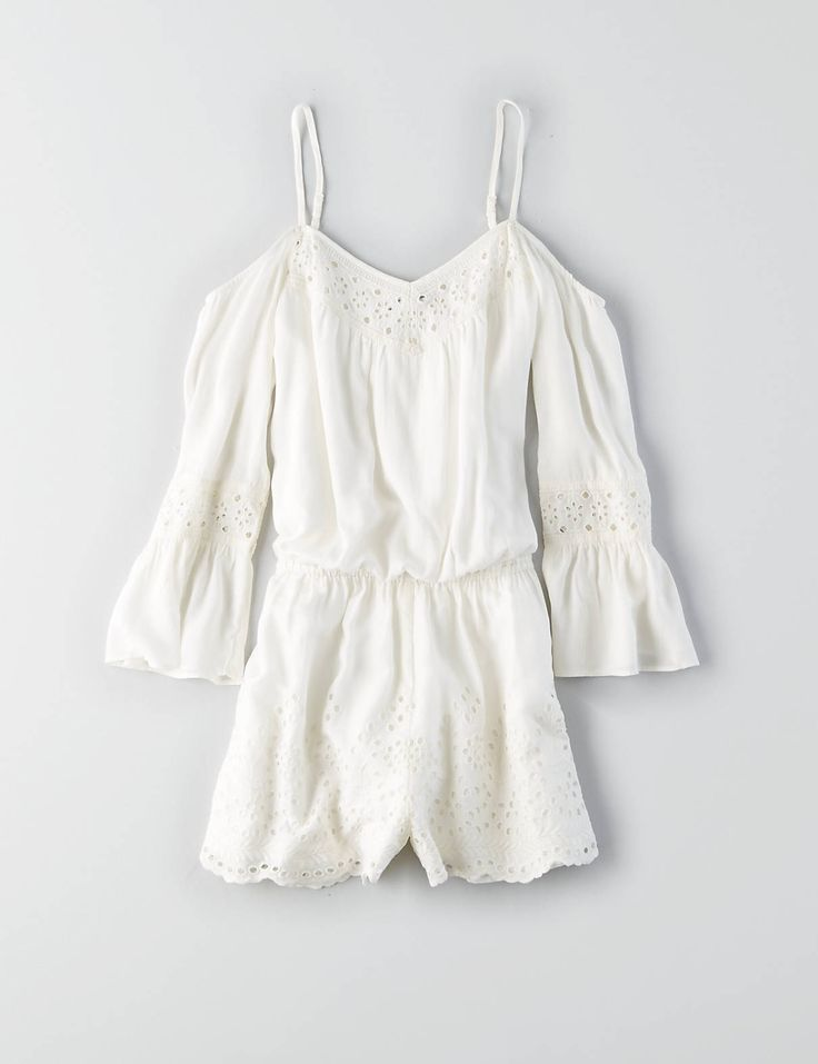 AEO Cold Shoulder Romper , Cream | American Eagle Outfitters