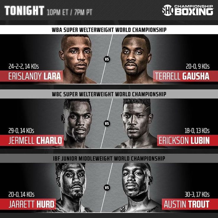 All eyes are on the 154-pound division tonight. Lara-Gausha Hurd-Trout and Charlo-Lubin. Three od the four major titles in the division will be at stake. Leave your final predictions here! Who do you have winning each fight? #boxingislife #showtime #showtimeboxing #boxing #barclayscenter #brooklyn #nyc #WBC #wbcboxing #wba #ibf #champion #sweetscience #knockout #frontproof