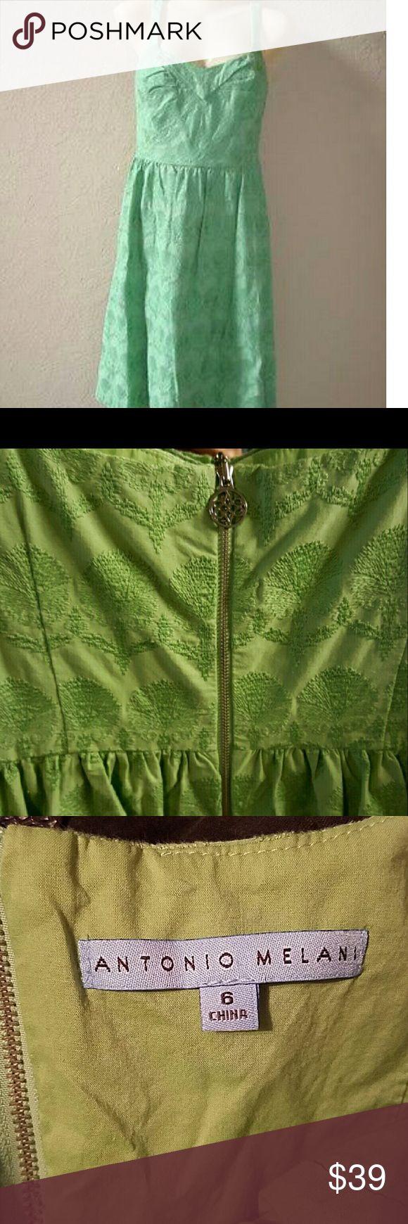 Antonio Melani Mint Green Dress EUC Size 6 Antonio Melani dress. Embroidered floral pattern. Excellent condition. Non smoking home. Reasonable offers welcome, but no trades:) ANTONIO MELANI Dresses