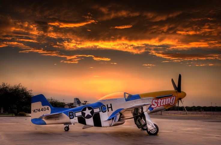 P-51 Sunset (clouds sunrise+sunset Summer city+skyline desert from+the+sky Patriotic sky ). Photo by nukegm
