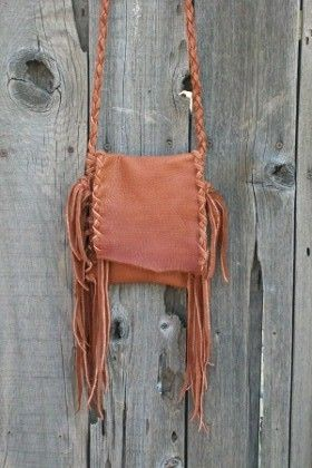 Fringed leather purse Bohemian cross body handbag