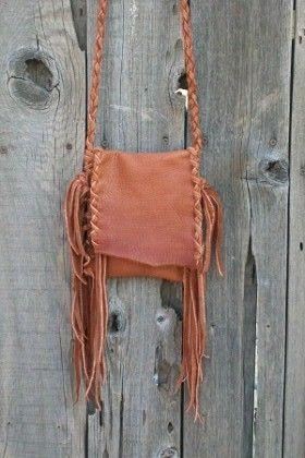 Fringed leather purse Bohemian cross body handbag