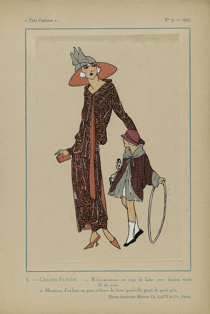 Anonymous | Très Parisien, 1923, No 7: 3. - CHAMPS-ELYSÉES - 1. Robe-manteau..., Anonymous, Ch. et Cie Lavy, G-P. Joumard, 1923 | Champs-Elysées. 1. 'Robe-manteau' (jasjurk) van 'reps de laine'(wol) met dessins geweven met zijden draad. 2. Kindermantel van schots geruite 'gros velours de laine' (wolfluweel) gegarneerd met 'petit gris' (bont). Stoffen van Ancienne Maison Ch. Lavy et Cie. Prent uit het modetijdschrift Très Parisien (1920-1936).