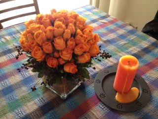 #roses #orange #candlelight
