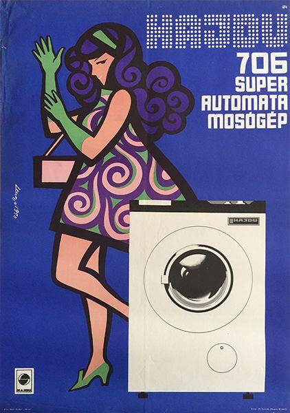 lengyel hajdu washing machine vintage hungarian poster 1970 by Lengyel Sándor