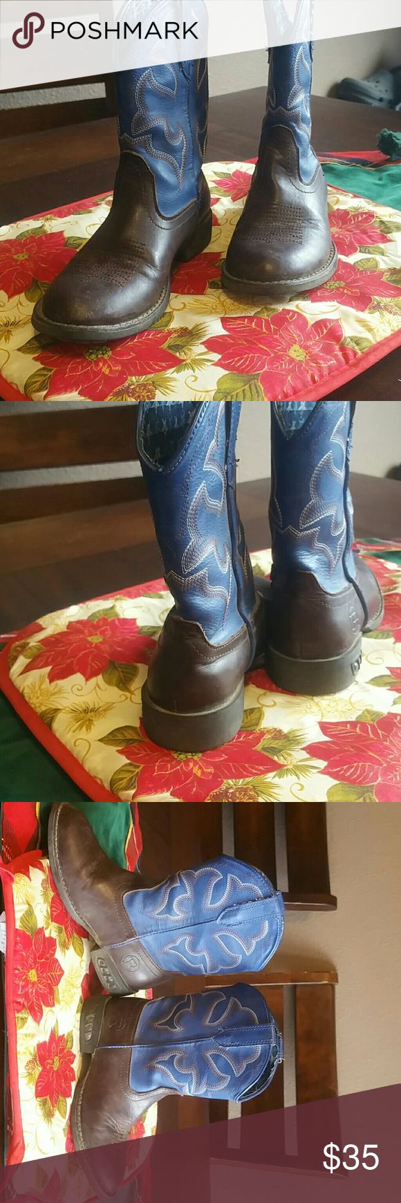 Little Boys Cowboy Boots! Light-Up!! Super cute light up Roper boots size USA 11! My kids get a new pair evert Christmas but these didn't fit my kiddo so he MAYBE wore them 10x MAYBE! Lights flash blue when then walk! Really good condition, a slight scuff or 2 but nice enough condition to wear to rodeo, school, church, or anywhere else your little one wants to wear them :) Heal is NOT thick enough for spurs but slide in & out of stirrups just fine! Roper Shoes Boots