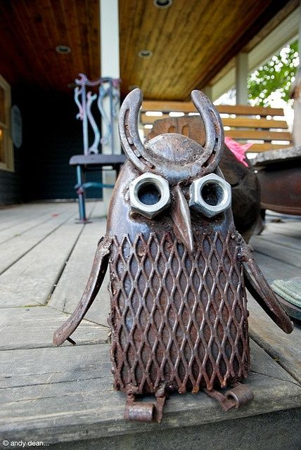 Sculpture made with found objects - owl metal yard art: